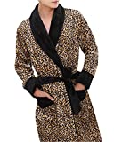 ZiXing Damen Herren Couple Fleece Bademantel Morgenmantel Nightwear Leopard XX-Large