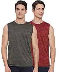 Proline Active Mens Olive/Red Tank Top(PA031OLSD/RDSD)-Pack of two