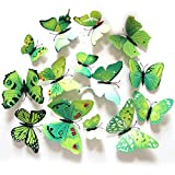 LifeJoy 12pcs 3D Simulierte Schmetterling Magnete fridge-Magnet-Aufkleber, Gr¨¹n