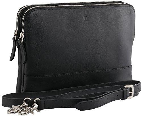 StilGut Crossbody Tasche Marlene, Hand-Tasche aus Leder mit verstellbarem und abnehmbarem Trage-Gurt und vielen Innen-Fächern, Schwarz -
