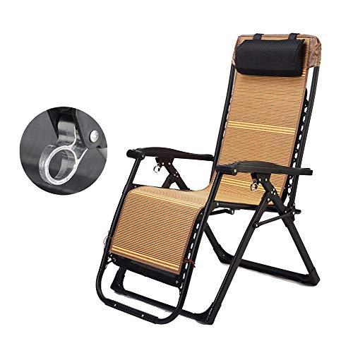 Deckchairs Feifei Multifunktions Patio Chair Sonnenliege Falten Recliner Schwerelosigkeit Büro Lunchbett Tragbare Strandkorb mit Bambusmatte