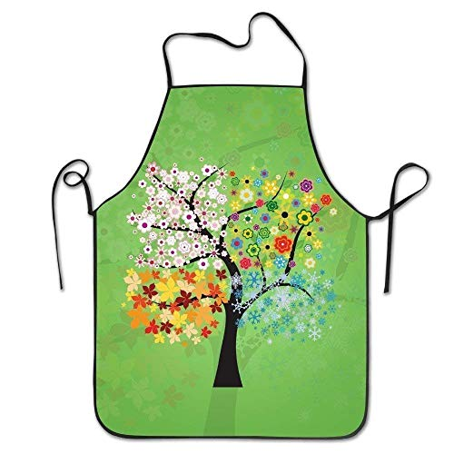 ERCGY 2019 Apron Personalized Aprons Four Seasons Tree Art Project Hen Adjustable Durable String Apron (Art Nail String)