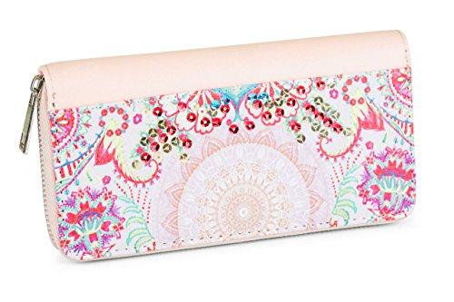 FashionCHIMP Geldbörse mit Blumen Muster im Ethno Style, Pailletten Damen Portemonnaie mit Reißverschluss (Rose)