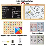 #4: FunBlast Magnetic Double Sided White & Black Wooden Board with Tangram,Letters & Numbers (Size: 33 X 23 cm (Small))