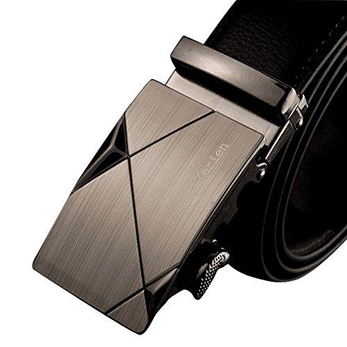 Rcool Männer Leder automatische Schnalle Gürtel Luxus Taille Gurt Gürtel Bund (F) (Jahre Leder 80er)