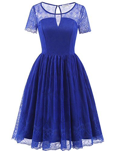 arm Spitzenkleid 50S Retro Rockabilly Knielang Schwingen Partykleid Cocktail Abendkleid Royal Blue XL (Royal Blau Kostüme)
