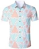 Goodstoworld Hawaiihemd Herren Hemd Kurzarm Slim Fit Trachtenhemd für Männer Coole Hemden Modern 3D Geometrie Dreieck