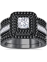 Silvernshine Enhancer Ring Guard & Engagement Ring Set Black Gold Plated Black Sim Diamonds