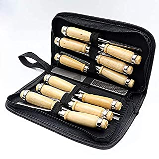APlus Wood Sculpture Tool Carving Tool Set 14 Pieces with Cutter File for Engraving on Wood Carving on Wood Carving DIY Wood Craft