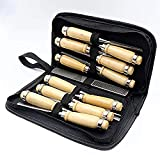APlus Schnitzwerkzeug Set 12-tlg, Holz-Schnitzwerkzeug Set mit Tasche & Anleitung, für Einsteiger und Profis, Schnitzmesser für Holz, Obst & Gemüse