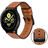 MroTech Bracelet Galaxy Watch Active/Galaxy Watch 42mm Bracelet de Montre en Cuir véritable 20mm Bracelet Remplacement pour Huawei Watch 2, Vivoactive 3/Vivomove HR, Ticwatch E/C2 20 mm Bande Marron