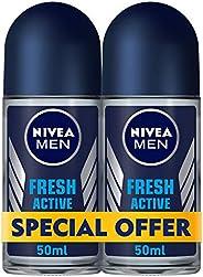 NIVEA, MEN, Deodorant, Fresh Active, Roll-On, 2 x 50 ml