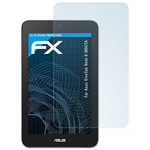atFolix Schutzfolie kompatibel mit Asus VivoTab Note 8 M80TA Folie, ultraklare FX Bildschirmschutzfolie (2X)