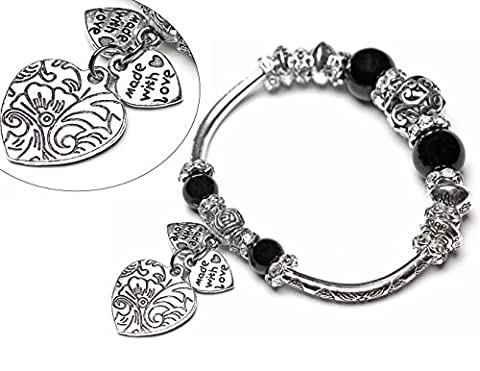 Eule Made with Love Hearth Herzen Armband Flex Flexibles Damenarmband Perlenarmband mit Bunten Perlen und Strass in Schwarz