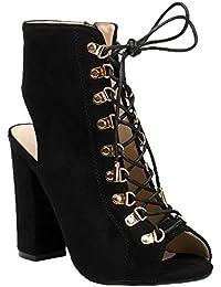 bdd0e685c8919 Ideal Shoes Bottines Montantes Peep Toe à Lacets et Ouvertes à l arrière  Laiza