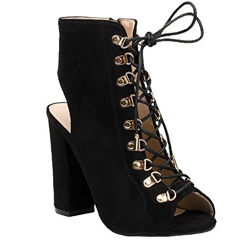 Ideal Shoes - Bottines montantes peep toe à lacets et ouvertes à l'arrière Laiza Noir