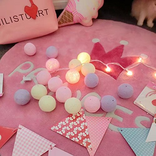 Magideal 35 Cotton Balls String Fairy Light Home Party Wedding Xmas Decor EU Adapter