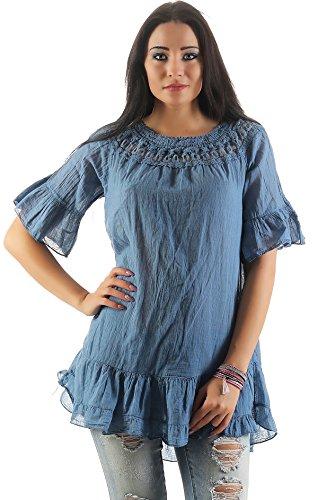 IKONA21 �?Fashion Italy Damen Shirt Bluse Tunika Longshirt Onesize S M L XL 36 38 40 42 44 500 604 Blau