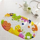 Jer Anti Rutsch Badematte Kinder Mat Duschmatte mit Saugnäpfen Helle Karikatur druckte für Badewanne Kinder Matte, 15 x 27 Zoll |nette Ente| Haushaltsgegenstände
