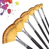 6Pcs 6Différent Tailles Pinceau Set Sable Weasel Fan Multi-Color Hair Birch Pinceau en bois Set pour peinture aquarelle, acrylique et linéaire