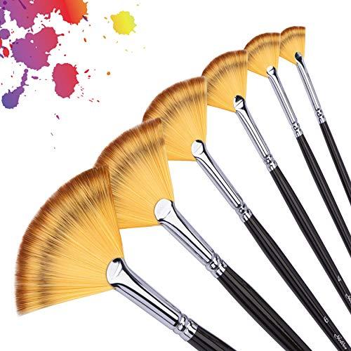artist paint brush set (Cepillo de nylon del ventilador 6pcs)