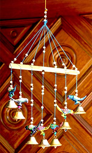 Craft Junction Handcrafted Birds Design Wood Windchime (18 inch, Multicolor)