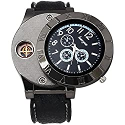 FEITONG Lässige Herren Militär Quarz Armbanduhr Laden über USB Zigaretten Zigarre Flammenloses Winddicht Leichter Uhr Schwarz