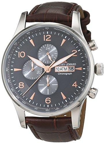 Jacques Lemans Herren-Armbanduhr London Analog Quarz Leder 1-1844D