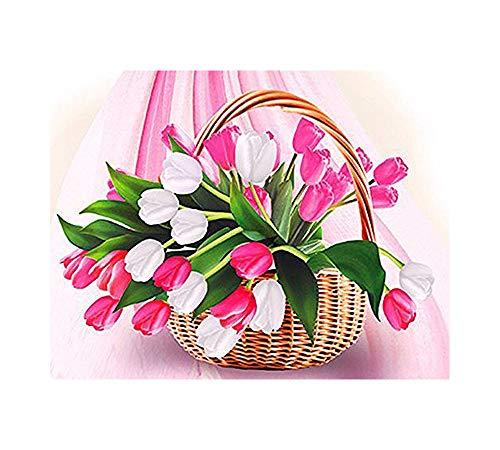 GMMH Diamond Painting Set Image 14 x 18 Diamant Peinture Broderie à la Main Bricolage mosaïque Pierres Fleurs Panier Tulipes