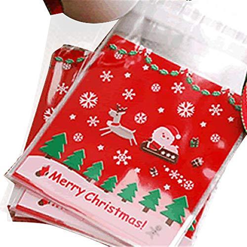 dealglad® 100Weihnachten Schlitten Weihnachtsmann Rentier Biscuit Cookie Candy Sweets selbstklebend Kunststoff Verpackung Geschenke Staubbeutel