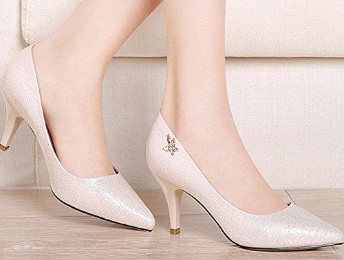 Casamento Senhoras Com Top Gatinho Ten Fechado Sapatos Calcanhar Bomba bege Confortáveis qfBwTUnq