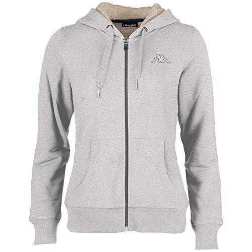 Kappa Damen Jacke Veruschka Hooded Sweatjacket, 19M Grey Melange, XL, 303443