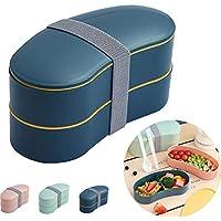 MIHUA boite bento, lunch box 2 niveaux avec couverts réutilisables style japonais pour micro-ondes congélateur lave-vaisselle boîtes à bento pour enfants/adultes, travail/école (bleu)