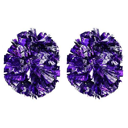 Alomejor 1 Paar Cheerleader Pom Poms Kunststoff Blume Hängende Poms für Teamgeist Jubeln Party Dance Zubehör 8 Farben(Silber+Violett)