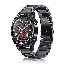 Fintie Armband kompatible mit Huawei Watch GT/Huawei Watch GT 2 46mm / Huawei Watch GT 2e / GT Active Smartwatch - Uhrenarmband Edelstahl Metall Ersatzband, Schwarz