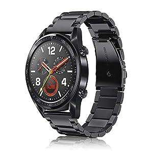 Fintie Correa para Huawei Watch GT2 46mm / Huawei Watch GT Sport/Active/Classic Pulsera de Repuesto de Acero Inoxidable Banda Ajustable de Metal 6