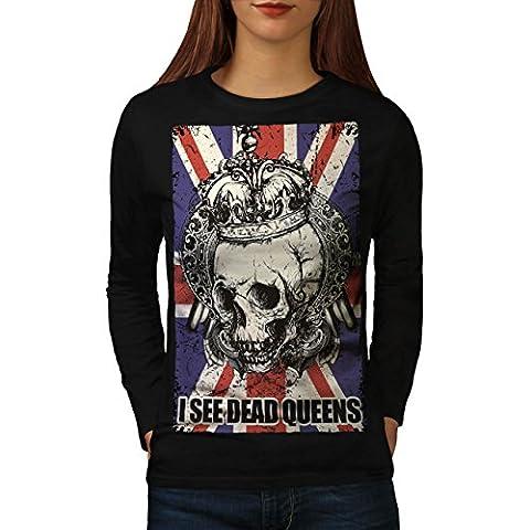 Schädel Tot Königin Metall Vereinigtes Königreich Skelett Vereinigtes Königreich Damen M Langarm-T-Shirt | Wellcoda
