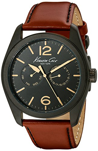 KENNETH COLE KC8063 GENTS RED CALFSKIN 44MM STAINLESS STEEL CASE DATE WATCH
