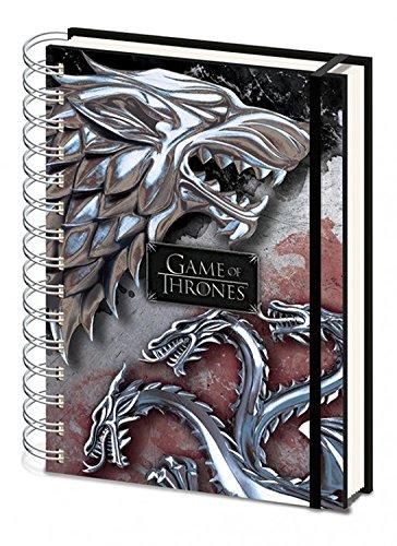 Juego De Tronos - Stark & Targaryen Bloc De Notas Libreta De Espiral (