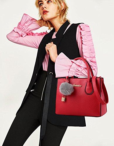 NICOLE&DORIS Mode Frauen Handtasche Crossbody Tote Einkaufstasche Schultertasche PU Khaki Groß Rot