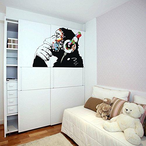 Decalcomanie Da Muro Di Banksy Vinile Scimmia Con Cuffie / scimpanzè Ascolto ai Musica in Auricolari / Strada Arte Graffiti Adesivo + Gratis Regalo Di Decal - 80x55 cm