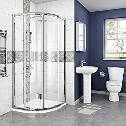 iBathUK 800 x 800 mm Designer Quadrant Sliding Door Shower Enclosure + Tray & Free Waste