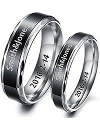HOUSWEETY Bague Anneaux pour Couple Alliance Engagement Promesse en en Acier Inoxydable