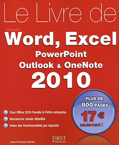 Livre de Word, Excel, PowerPoint, Outlook, OneNote 2010
