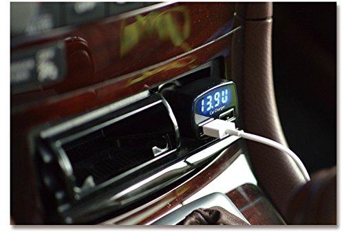 4in1 3.1A verdoppeln USB Car Charger, Senhai Tragbare Schnelle External Battery Pack Ladegerät Zigarettenanzünder mit blauer LED-Anzeige Kompatibel für die meisten Android / IOS / Windows Smart Handys, GPS, Tablets und andere USB-Geräte aufgeladen – Schwarz - 4