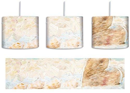 Weißer Sandstrand mit Muscheln Pinsel Effekt inkl. Lampenfassung E27, Lampe mit Motivdruck, tolle Deckenlampe, Hängelampe, Pendelleuchte - Durchmesser 30cm - Dekoration mit Licht ideal für Wohnzimmer, Kinderzimmer, Schlafzimmer