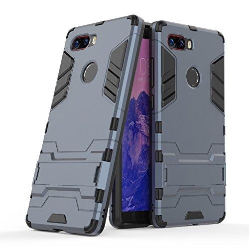 Happy-L Hülle für ZTE Nubia Z17S, Dual Layer Armor Defender Shockproof Hard Case mit Ständer (Farbe : Blau Schwarz)
