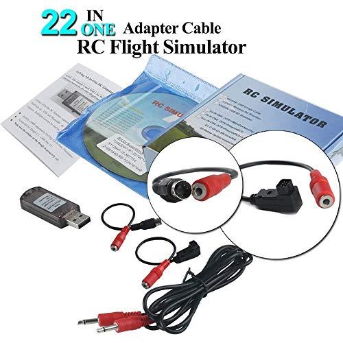 LITEBEE 22 in 1 RC Flight Simulator Adapter Kable for G7 Phoenix 5.0 XTR VRC Transmitter, Flysky Frsky Remote Controller FPV Racing