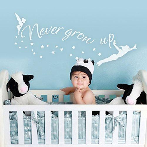chambre-mural-motif-never-grow-up-coutume-murale-design-sticker-mural-motif-peter-pan-fee-clochette-