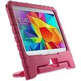 MTP Samsung Galaxy Tab 4 10.1 T530, Galaxy Tab 4 10.1 3G T531, Galaxy Tab 4 10.1 LTE T535 Funda Portátil de Niños, Cover, Case, Carcasa con función de Soporte - Rosa Fuerte
